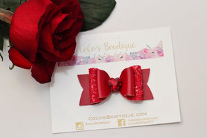Red- Heart Gem Bows- 3 sizes double bow