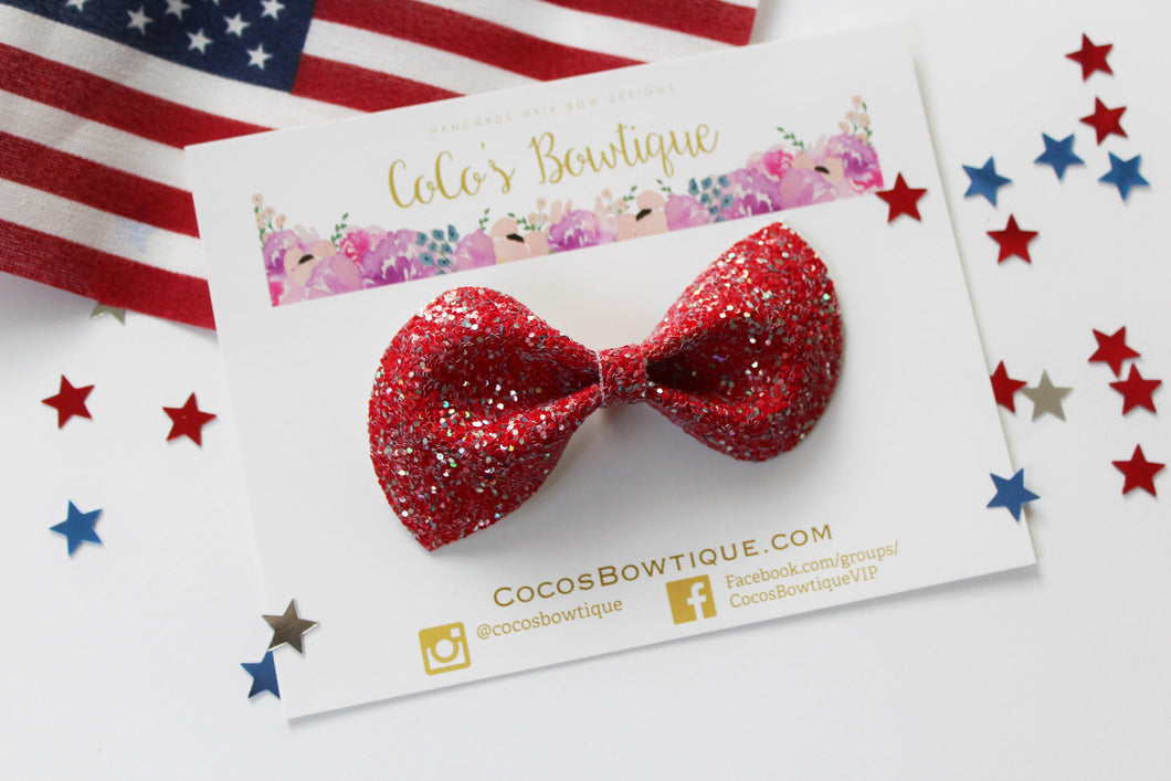 Patriot- Chunky glitter hair bow- Various Sizes