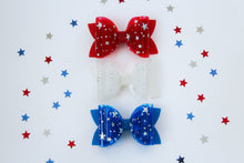 Royal Blue- Star Dust Jelly/Pool bows- Double Bow Sizes