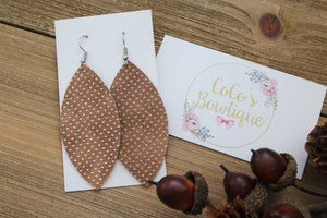 Tan- Metallic Dot Faux Leather Petals- Handmade Earrings- Nickel Free