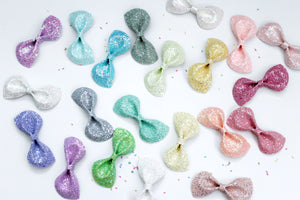 Bubble Gum Shimmer- Iridescent Glitter bow- Various Sizes