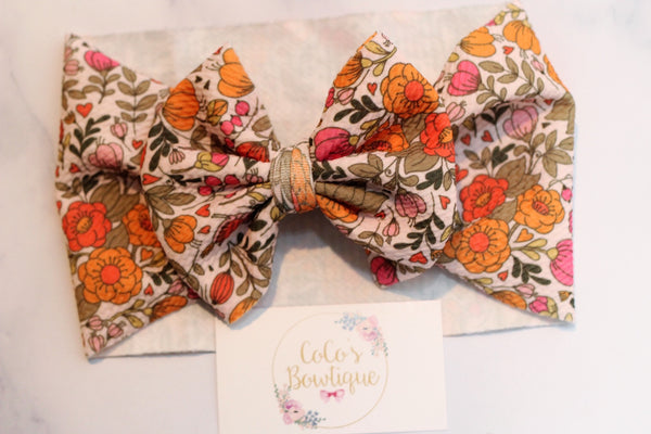 Pink Peek-a-Blooms- Stretchy Liverpool/Bullet Bow Wrap- Choose Size