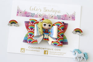 Rainbow Brite-Inspired Clay Center Bow- Limited Edition