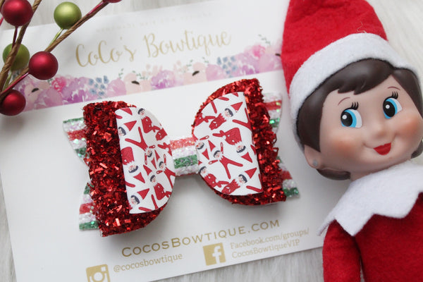 Santa's Little Helpers- Faux leather/tinsel double bow- 3 sizes