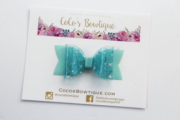 Aqua Blue - Star Dust Jelly/Pool bows- Double Bow Sizes