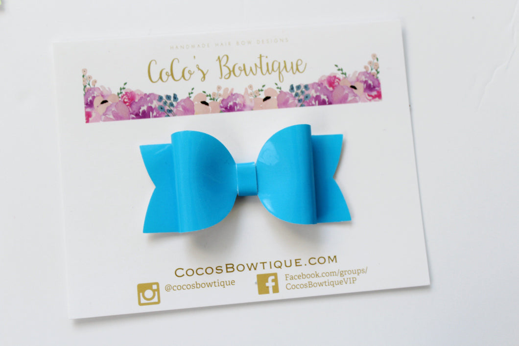 Blue Highlighter- Neon Patent Leather hair bow- Various Sizes