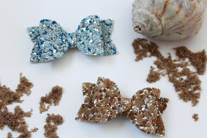 Sand- Beaded Glitter hair bow- Various Sizes