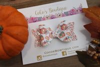 Bippity Boppity Boo- Pumpkin Carriage Faux Leather/Glitter Hair Bow- Various Sizes