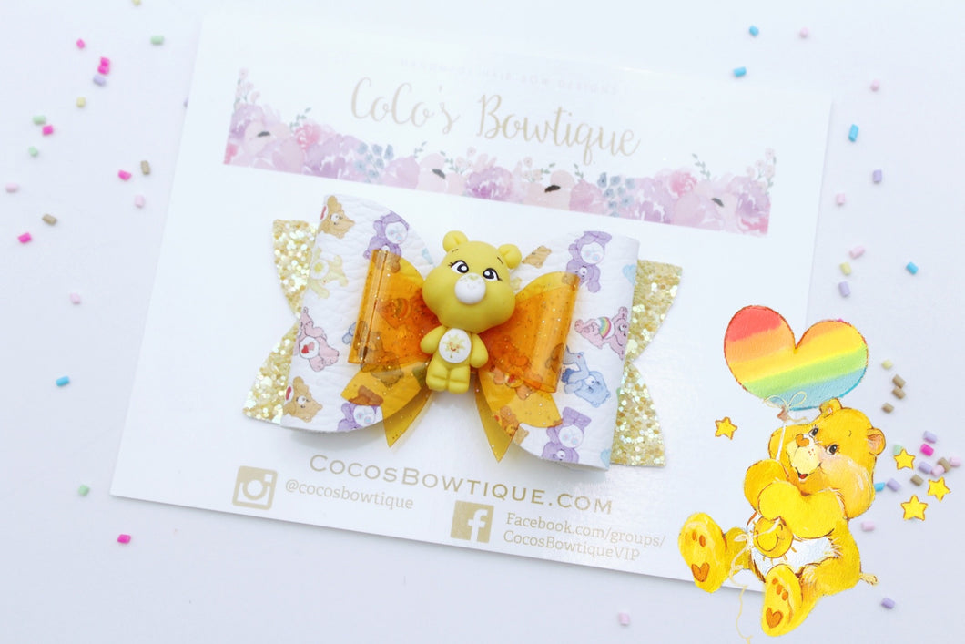 Funshine Bear- Care Bears-Inspired Clay Center Bow- Limited Edition