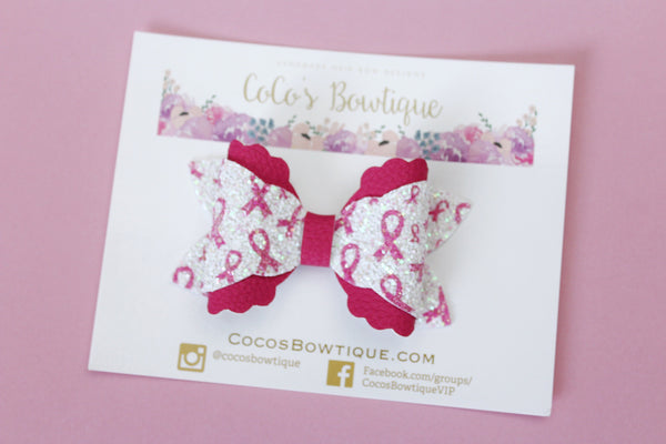 Fight Like a Girl- Breast Cancer Awareness- Arielle-Style Bow- Faux Leather/glitter hair bow- 2 sizes