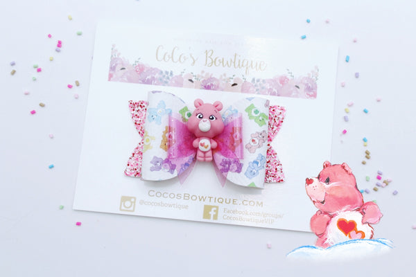 Love-a Lot Bear- Care Bears-Inspired Clay Center Bow- Limited Edition