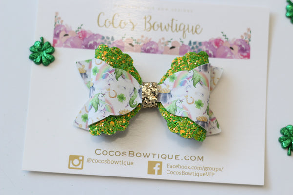Lucky Unicorns- Faux Leather/Glitter Bow- St Patrick's day Hair Bows