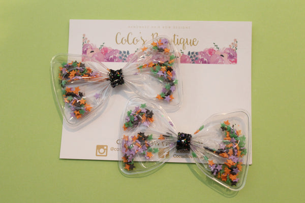 Magic Stars- Halloween-Inspired Clay Sprinkles Shaker Bow- Pigtail Set or Single Bow