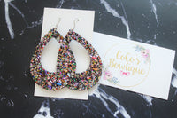 Treasure Trove- Gem encrusted glitter- Hoops- Handmade Earrings- Nickel Free
