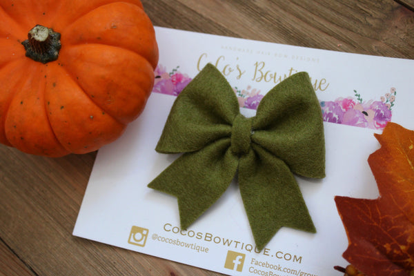 Olive- Feltie Bow- 100% Wool Felt Hair Bow- Fall Hair Bows- 2 Sizes