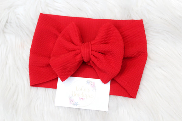Red- Stretchy Liverpool/Bullet Bow Wrap- Choose Size