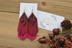 Cranberry Ombré - Glitter/Faux Suede Layered Fringe- Handmade Earrings- Nickel Free