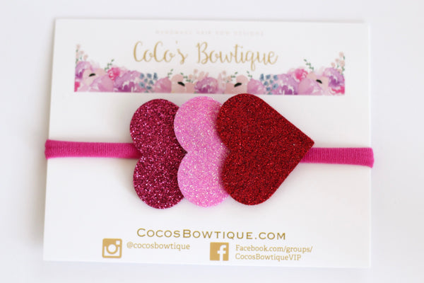 Red/Pink Wool Glitter Felt Heart Trio