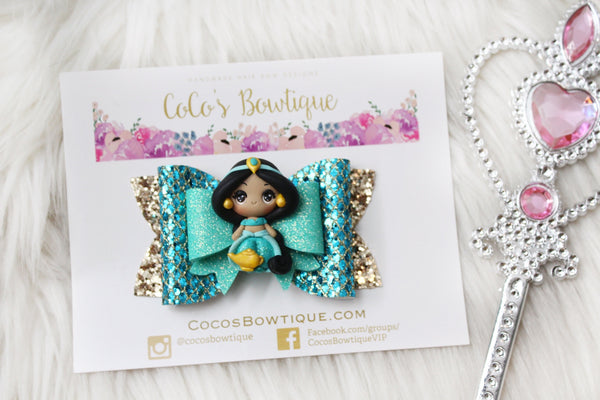 Princess Jasmine- Disney Princess-Inspired Clay Center Bow- one size