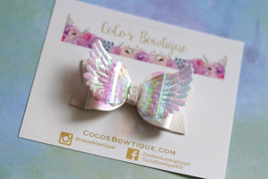 Guardian Angel Bow- Pearl Faux Leather/ Iridescent Angel Wings Hair Bow