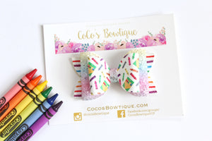Crayon Fun- Faux Leather Glitter Double Bow- 3 sizes