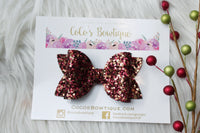 Cranberry /Gold Stars- Chunky Glitter bow- Various Sizes