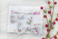 Snow Globe- Shaker Bow- Pigtail Set or Single Bow