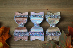 Gold Rush - Two Tone Holographic Faux Leather and Glitter- Fall hair bows-3 sizes