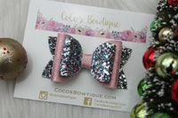 Nostalgia- Faux leather/glitter double bow- 3 sizes