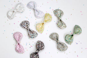 Spring Fling- Multi Glitter hair bow- Various Sizes