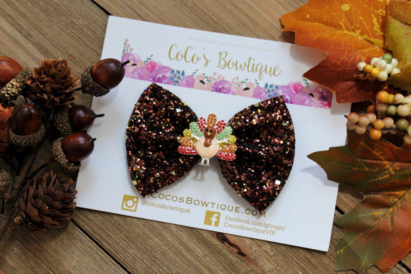 Turkey Day- Rhinestone Turkey/Glitter Hair Bow- Fall Bows- Thanksgiving Bow