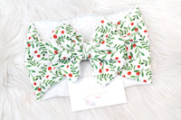 Mistletoe & Holly - Stretchy Liverpool/Bullet Bow Wrap- Choose Size