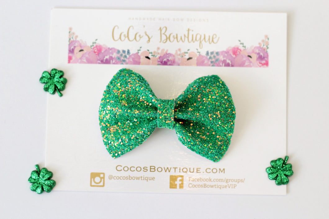Kelly Green- Iridescent Glitter Bow- Various Sizes
