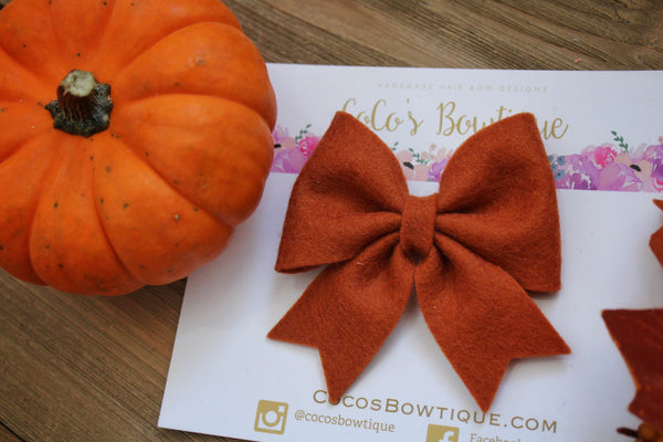 Rust- Feltie Bow- 100% Wool Felt Hair Bow- Fall Hair Bows- 2 Sizes