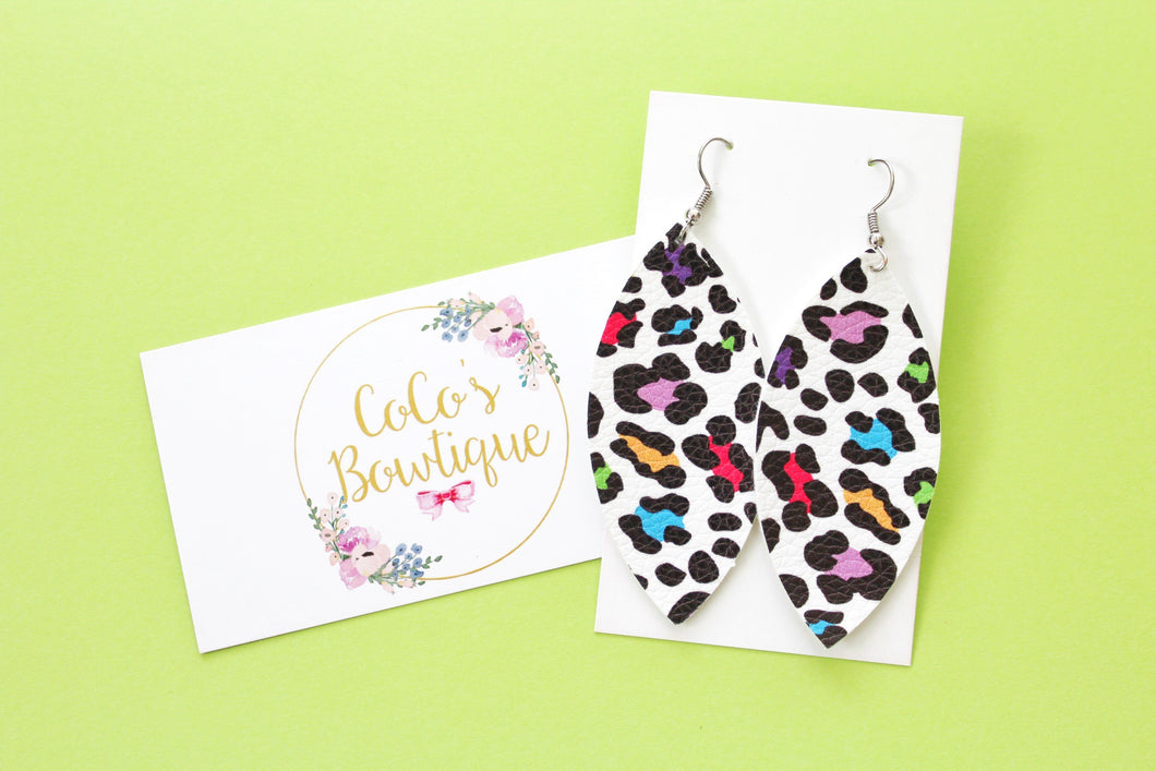 Neon Leopard- Petal Earrings- faux leather Handmade Earrings- Nickel Free