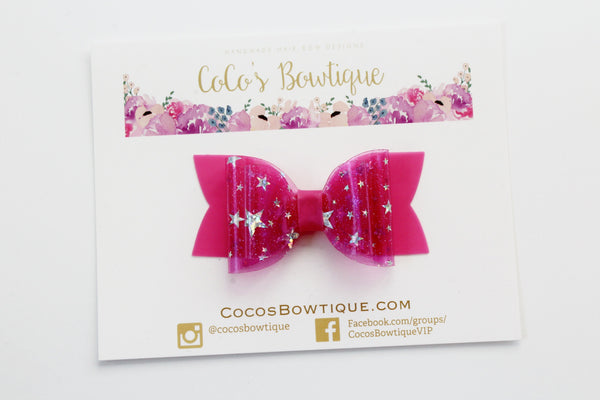 Barbie Pink- Star Dust Jelly/Pool bows- Double Bow Sizes