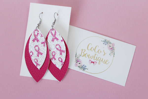 Fight Like a Girl- Breast Cancer Awareness-Layered Petals- Handmade Earrings- Nickel Free