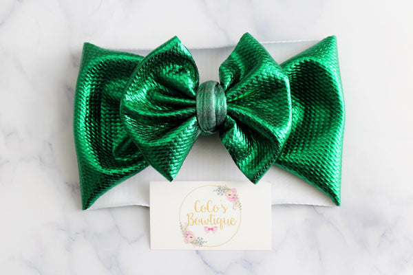 Emerald City- Metallic Green Stretchy Liverpool/Bullet Bow Wrap- Choose Size