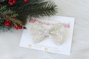Iridescent Ivory- Holiday Tinsel Bows- Various Sizes- Christmas bows