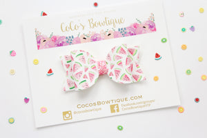 Water Color Watermelon- Summer Fruit Bows- Faux Leather/Glitter hair bow- Various Sizes