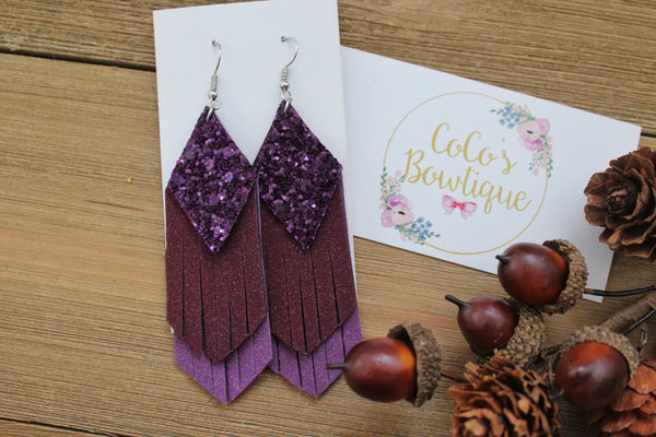 Amethyst Ombré - Glitter/Faux Suede Layered Fringe- Handmade Earrings- Nickel Free