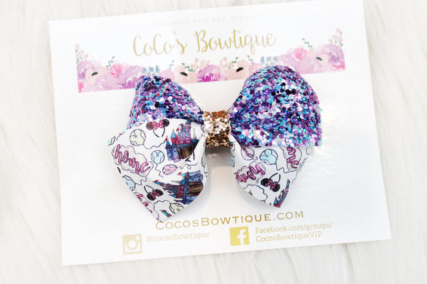 Home sweet Home- Disney-Inspired Faux Leather Bella Bow- 2 sizes