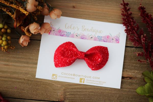 Cherry Red- Jewel Tone Glass Glitter Bows- Various Sizes
