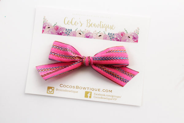 Neon Pink- Hand Tied Velvet bow w/ metallic design- Summer Boho Bows- One Size