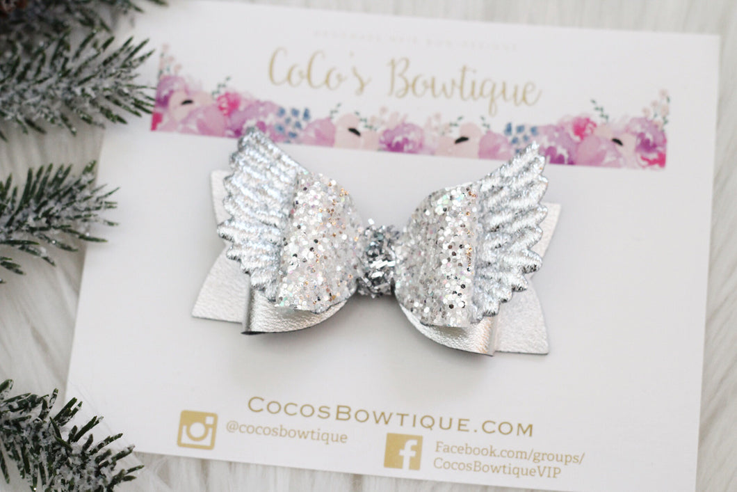 Silver Christmas Angel- Metallic Faux Leather/ Glitter Angel Wings Hair Bow-Holiday Bows