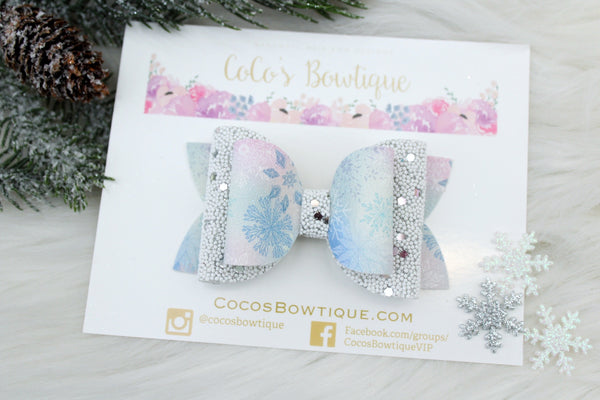 Frozen Journey- Winter/Snowflake Faux Suede/Pearled glitter double bow- 2 sizes
