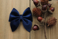 Navy- Velvet Hair Bows-Various Sizes- Fall Hair Bows