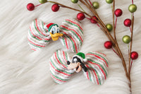 Donald & Goofy Pigtail Set- Set of (2) Glitter Bows on clips w/ Character Embellishments- Disney- Inspired