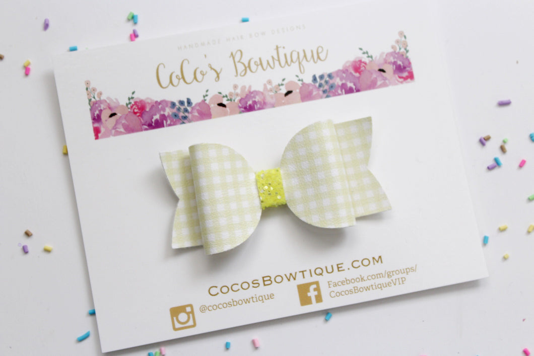 Yellow Gingham- Faux Leather/Glitter hair bow- Various Sizes