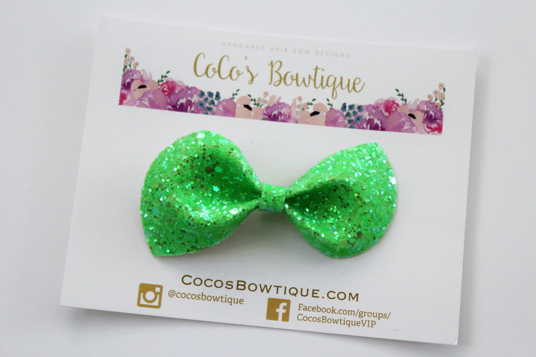 Slimer- Neon Glitter hair bow- Various Sizes